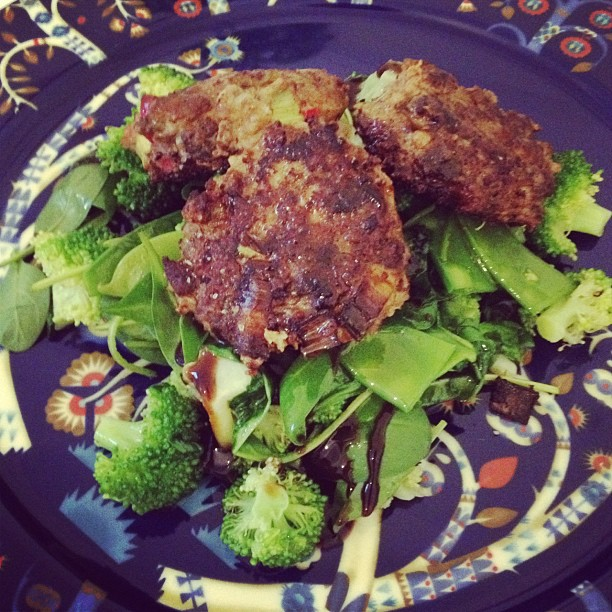 Lamb cutlets with vegetables