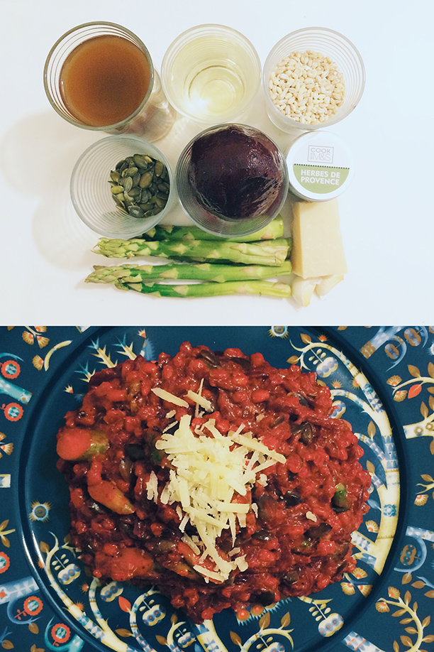 Beetroot and asparagus orzotto (pellissimo.ee) featured